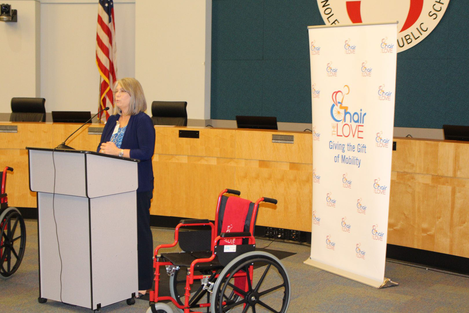announcement about gifted wheelchairs at a school